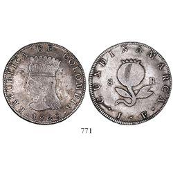 Bogota, Colombia, 8 reales, 1820JF, no mintmark, no countermark.