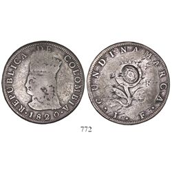 Bogota, Colombia, 8 reales, 1820JF, no mintmark, with pomegranate countermark in center of reverse.
