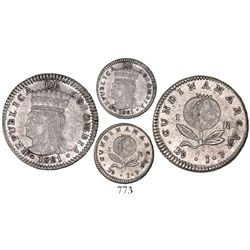 Bogota, Colombia, 1 real, 1821JF, dot below A of mintmark.