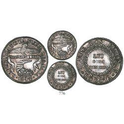 Bogota, Colombia, 2 reales, 1843RS, rare grade.