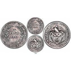 Popayan, Colombia, 1 peso, 1863, very rare.