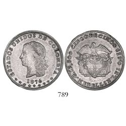 Medellin, Colombia, 5 decimos, 1876, date leaning left.