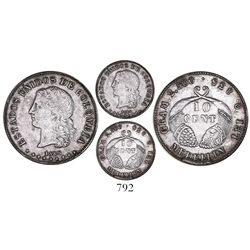 """Medellin, Colombia, 10 centavos (""""10 cent""""), 1885, fineness 0.835."""