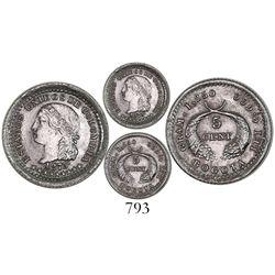 "Bogota, Colombia, 5 centavos (""5 cent""), 1875."