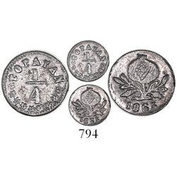 Popayan, Colombia, 1/4 decimo, 1865/4.