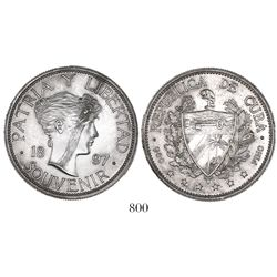 """Cuba, """"souvenir"""" peso, 1897, closely spaced date, star above baseline of 97."""