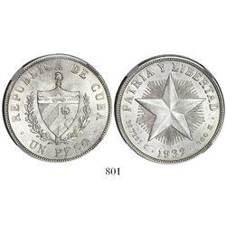 "Cuba, ""star"" peso, 1932, encapsulated NGC MS 63."