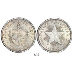 "Cuba, ""star"" peso, 1933, encapsulated NGC MS 63."