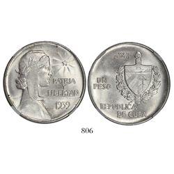 "Cuba, ""ABC"" peso, 1939, encapsulated MGC MS 63."