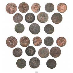 Lot of 12 Santo Domingo, Dominican Republic (under Spain), copper 1/4R, Ferdinand VII (ca. 1810-20).
