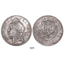 Dominican Republic, 5 francos, 1891.