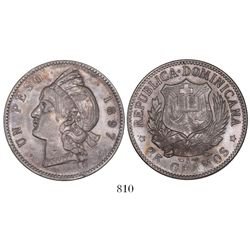 Dominican Republic, 1 peso, 1897-A.