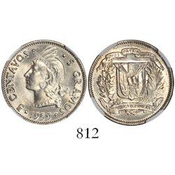 Dominican Republic, copper-nickel 5 centavos, 1959, encapsulated NGC MS 65.