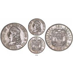 Quito, Ecuador, 5 francos, 1858GJ, rare.