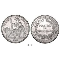 French Indo-China, 1 piastre, 1921.