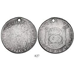 Guatemala, pillar 8 reales, Ferdinand VI, 1757J, rare.