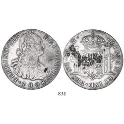 Guatemala, bust 8 reales, Ferdinand VII transitional (bust of Charles IV), 1808M, with chopmarks as