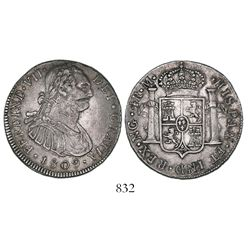 Guatemala, bust 4 reales, Ferdinand VII transitional (bust of Charles IV), 1809M, rare.