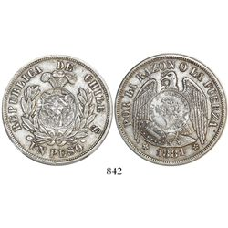Guatemala, 1 peso, 1894, 1/2 real counterstamp on a Santiago, Chile, 1 peso of 1881.