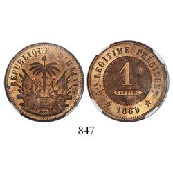 Haiti, copper 1 centime, 1889, encapsulated NGC MS 62.