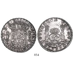 Mexico City, Mexico, pillar 8 reales, Philip V, 1739/7MF, rare.