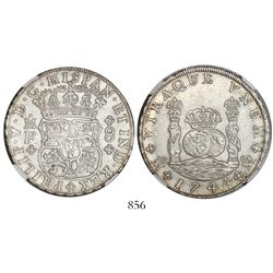 Mexico City, Mexico, pillar 8 reales, Philip V, 1744MF, encapsulated NGC UNC details / surface hairl