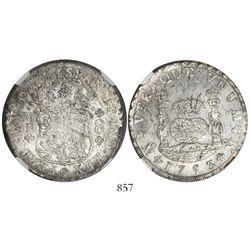 Mexico City, Mexico, pillar 8 reales, Ferdinand VI, 1753MF, encapsulated NGC MS 61.