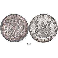 Mexico City, Mexico, pillar 8 reales, Ferdinand VI, 1757MM.