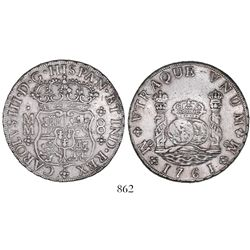 Mexico City, Mexico, pillar 8 reales, Charles III, 1761MM, tip of cross directly under I.