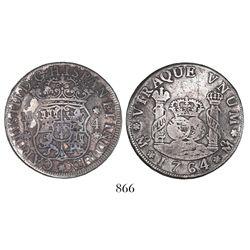 Mexico City, Mexico, pillar 4 reales, Charles III, 1764MF.