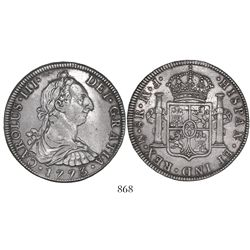 Mexico City, Mexico, bust 8 reales, Charles III, 1773FM, initials facing rim.