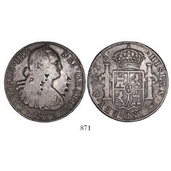 Mexico City, Mexico, bust 8 reales, Charles IV, 1806TH, with unidentified S.M.A. and 1867 countermar