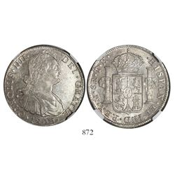Mexico City, Mexico, bust 8 reales, Charles IV, 1806TH, encapsulated NGC AU 58.