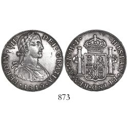 Mexico City, Mexico, bust 2 reales, Ferdinand VII transitional (armored bust), 1810HJ.