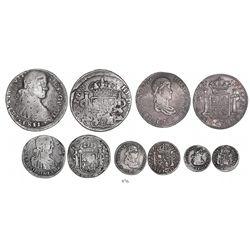 Denomination set of Durango, Mexico, bust 8-4-2-1-1/2 reales, Ferdinand VII, dates of 1811-1817, all