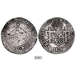 Zacatecas, Mexico, 2 reales provisional, 1811-LVO, flowers and castles, very rare.