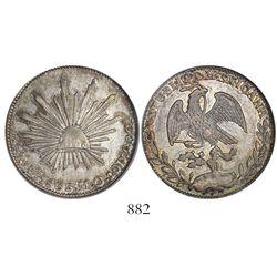 Zacatecas, Mexico, cap-and-rays 4 reales, 1863MO, encapsulated NGC AU 53.