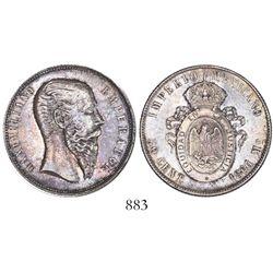 Mexico City, Mexico, 50 centavos, Maximilian, 1866.