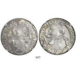 """Campen, United Netherlands, """"lion"""" daalder, 1648, encapsulated NGC AU 50."""