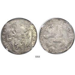 """Gelderland, United Netherlands, """"lion"""" daalder, 1648, encapsulated NGC AU 50."""