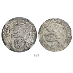 """Zwolle, United Netherlands, half """"lion"""" daalder, 1648, encapsulated NGC AU 50, finest and only speci"""