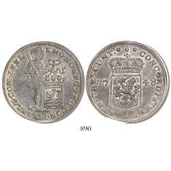 """Zeeland, United Netherlands, piedfort double """"rider"""" ducatoon, 1748, encapsulated NGC AU 58."""