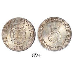 Panama, copper-nickel 5 centesimos, 1932, encapsulated NGC MS 64, ex-Whittier collection.