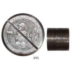 Steel hub for Panama 5 balboas (probably 1970s), unadopted design, with diagonal cancellation.