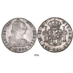 Lima, Peru, bust 8 reales, Charles III, 1778MJ.