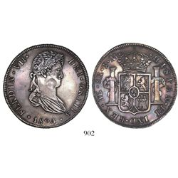 Lima, Peru, bust 8 reales, Ferdinand VII, 1824JM.
