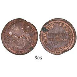 Lima, Peru, copper 1/4 peso, 1823.
