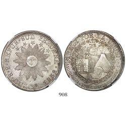 Cuzco, South Peru, 8 reales, 1838MS, encapsulated NGC AU 58.