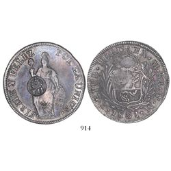 "Philippines (under Spain), peso, Isabel II, crowned ""Y.II."" countermark (1834-37) on a Lima, Peru, 8"