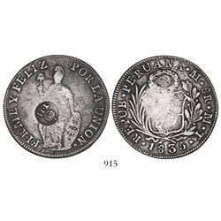 "Philippines (under Spain), 8 reales, Isabel II, crowned ""Y.II."" countermark (1834-37) on a Lima, Per"